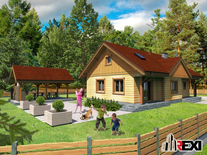 Projekt domu z drewna - REXI